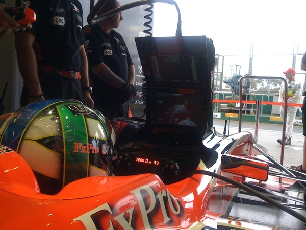 Track officially declared wet so Lucas is just following the action on his monitor. #f1