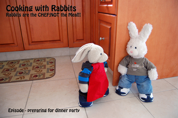 Zackary: welcom 2 #cookinwifrabbits!! Rufus: what we making today? Zackary: we're preparin dinner 4 some guests! #cooking