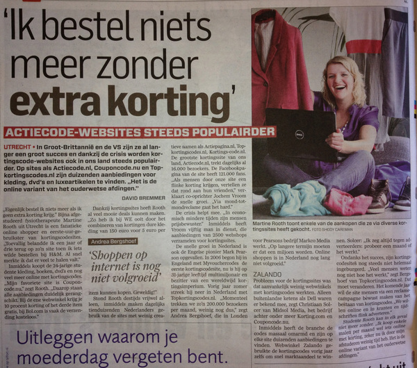 Leuk artikel vandaag in het AD over kortingssites. @jochemvroom en ik staan erin.