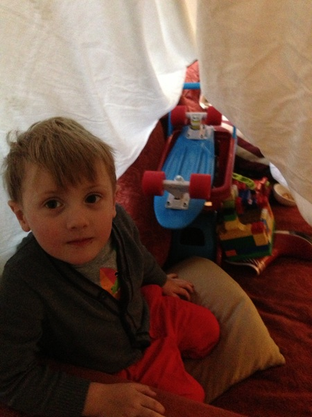 It was raining so I made a tent inside for Fletcher. He wanted to put all his toys in it