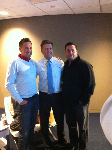 Cool pic of me, @joesquawk and Kenny D this morn at CNBC HQ had fun talking @rydercup @IJPDesign and @SportsYapper
