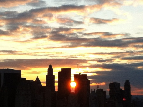 And sunset, clouds, with Manhattanhenge
