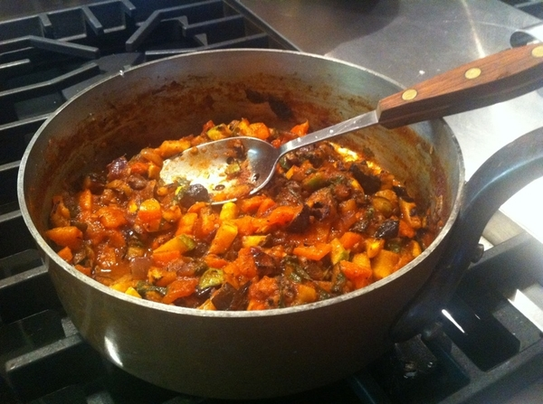 Combine all. Add OO, basil. Simmer briskly to thicken.  Season.