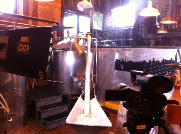 "Getting ready to shoot ""beer making 101"" for MOPAAT w @jbrew312 at @GooseIsland! Tasting involved I hope :)"