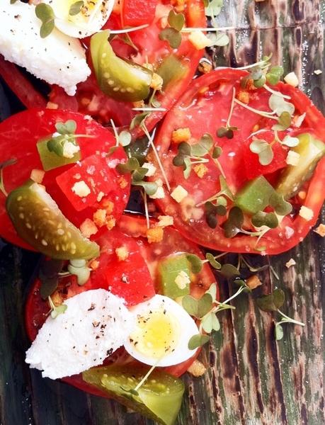 New Topolo menu hilites: heirloom tomato salad, smkd ricotta, quail egg, pkld tomatillo, homade tequila vinager