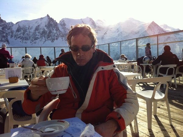 The sun, Monte Bianco, me and a cup of coffee