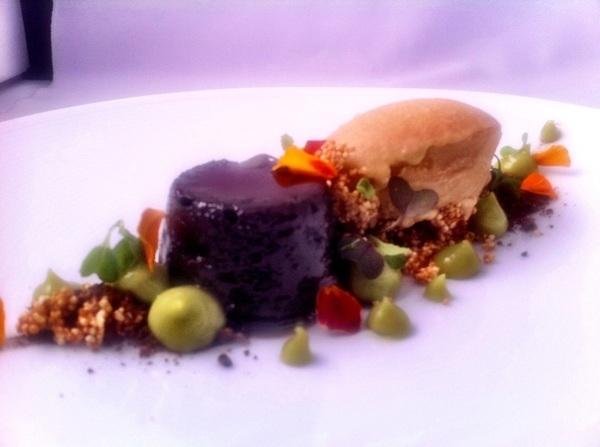 Persistent Flavors Tasting hilights: choc-mesquite torta, caramelized amaranth sorbet, avocado pudding