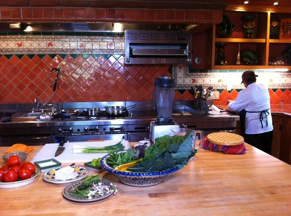 Rancho LP: set up to film green garlic mojo w braised greens, rstd tomato-árbol salsa. Made tacos w fresh cheese!