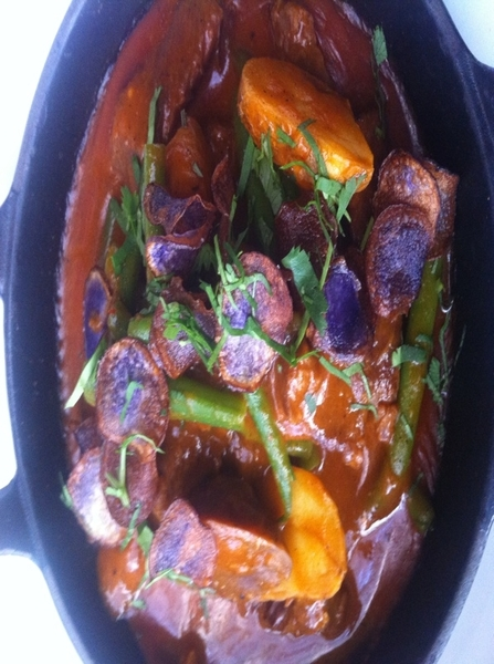Possible new Red O dish: short ribs braised in yellow mole w heirloom potatoes, gr beans, hoja santa