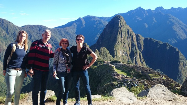 Sharing the awesome view of Machu Picchu with my family
