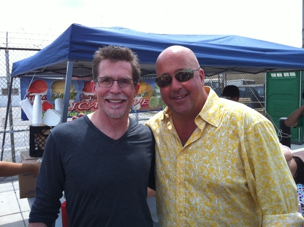 Just ate a smorgasbord w @andrewzimmern @ Maxwell St Mkt, filming 4 Bizarre Foods.  Gr8 energy,gr8 food,gr8 crowd