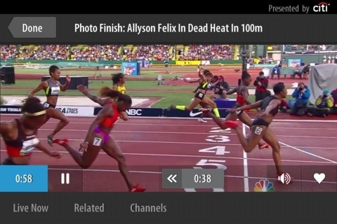 Photo finish pic with @allysonfelix taken from the @NBCOlympics Live Extra app via @CitiEveryStep.
