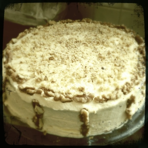 Carrot cake is finished and ready for tonight!