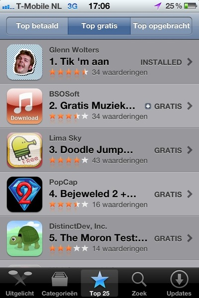 My latest app is now the number 1 free app in the Netherlands! How cool is that? Appstore: http://bit.ly/nqza9t