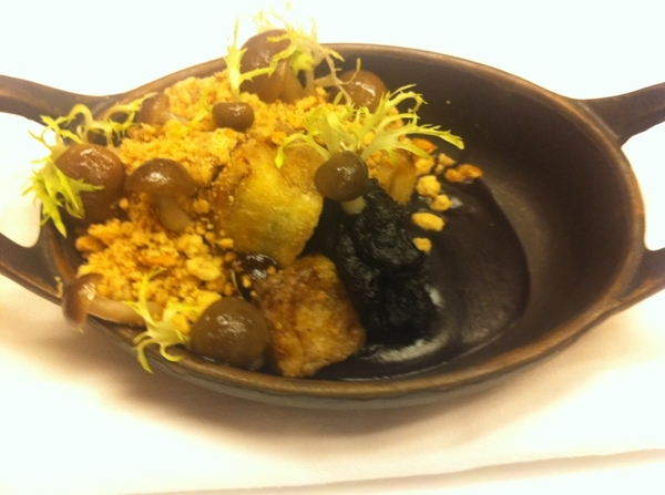 Tasting poss Topolo menu: cazuela of eggplant, huitlacoche, bl bean sauce, beach&oyster mushrooms,p'seed streusel